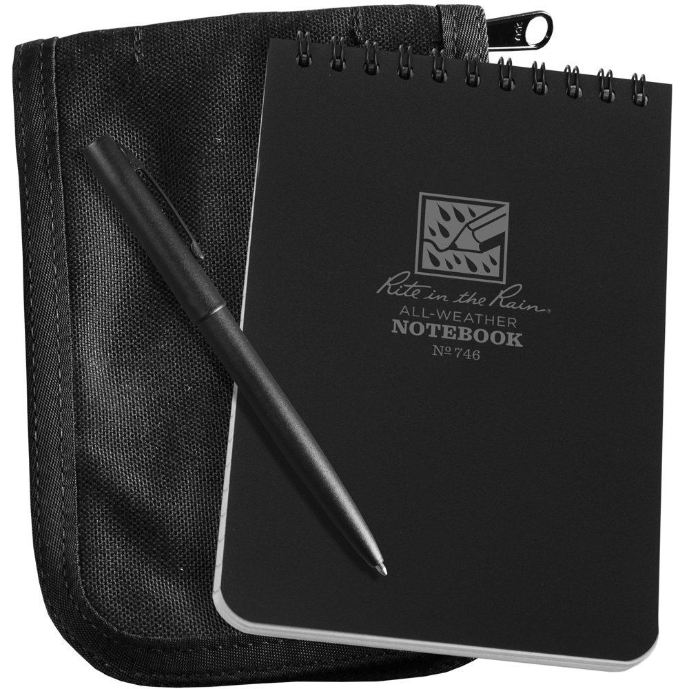 "Rite in the Rain All-Weather 4"" x 6"" Top-Spiral Notebook Kit: Black CORDURA Fabric Cover, 4"" x 6"" Black Notebook, and All-Weather Pen (No. 746B-KIT)"