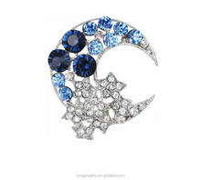 2017 Personalized lovely moon star design rhinestone brooch for wholesale BRL0187