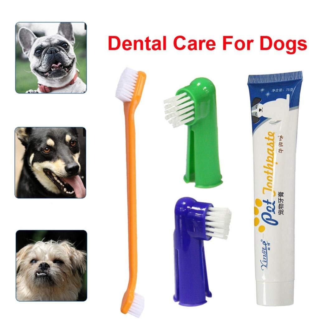 Dog Toothbrush Finger Brush,Morecome Toothpaste Kit Oral Health Care for Pet