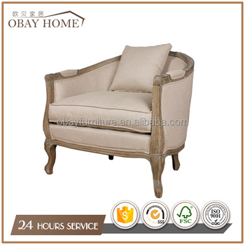 Single Seat Sofa Solid Oak Wooden Frame