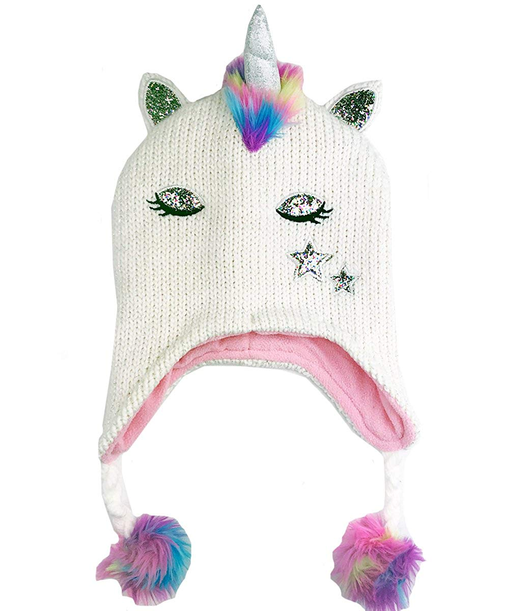 270c7e6cfbd7d Get Quotations · Sweet Giraffe Sparkle Knit Kid s Sleepy Unicorn Winter Hat    Ivory Rainbow