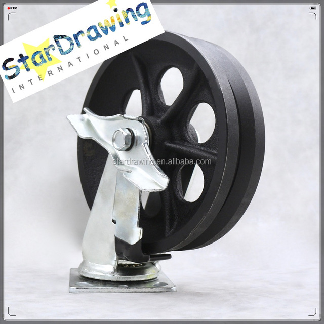 Steel castor and wheels wholesale castor and suppliers alibaba 200mm 8 inch v guide wheels and tracks caster castor with side brake for inverted steel publicscrutiny Gallery