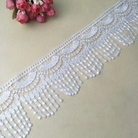 Fan fringed textile luxury white decorative lace net embroidery trim