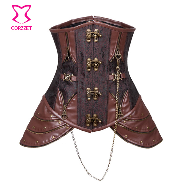 Women Sexy Steel Boned Underbust Waist Training Corset Corpet Brown Steampunk Corselet Gothic Waist Trainer Corsets And Bustiers