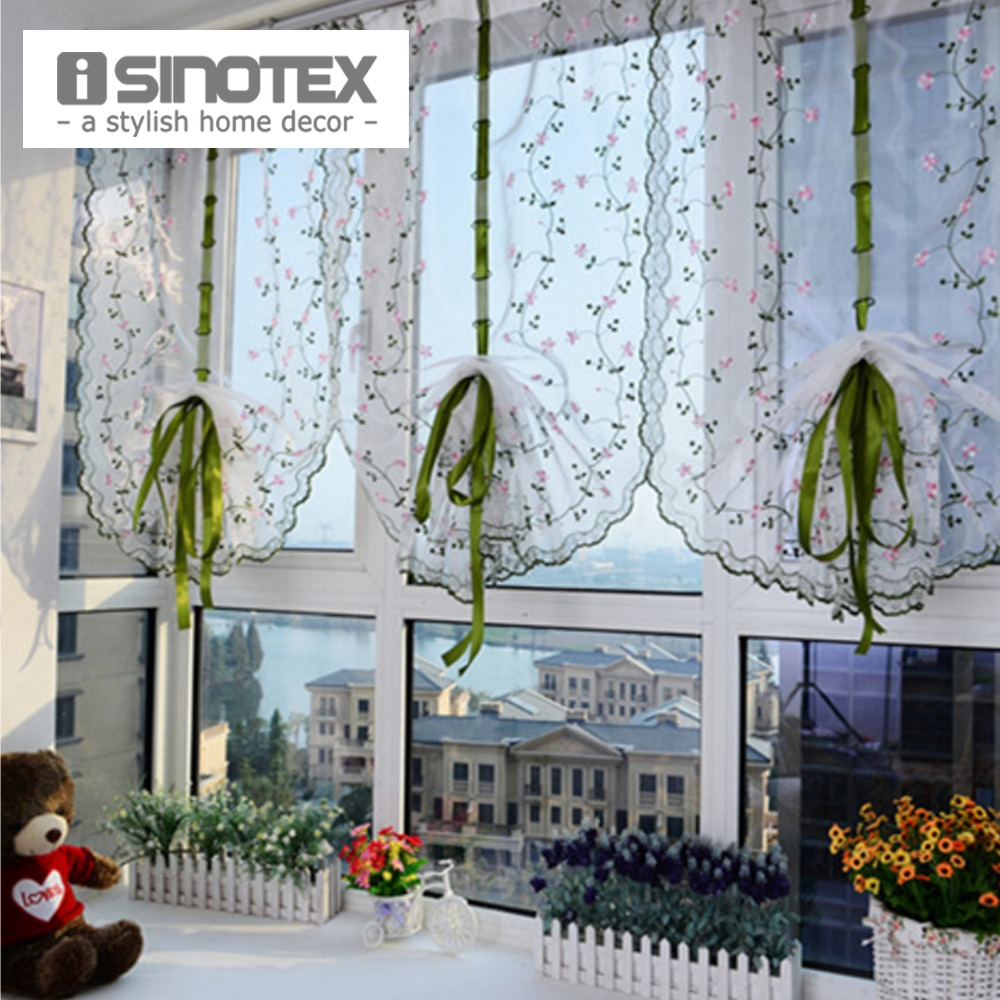 unids romano ventana cortina de tul bordado screening voile sheer cortinas frescas para cocina sala