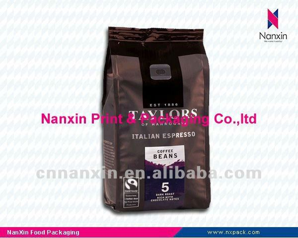 custom logo aluminum foil coffee packaging bag coffee beans bag with valve
