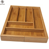 Premium natural expandable 8 compartment bamboo kitchen organizer