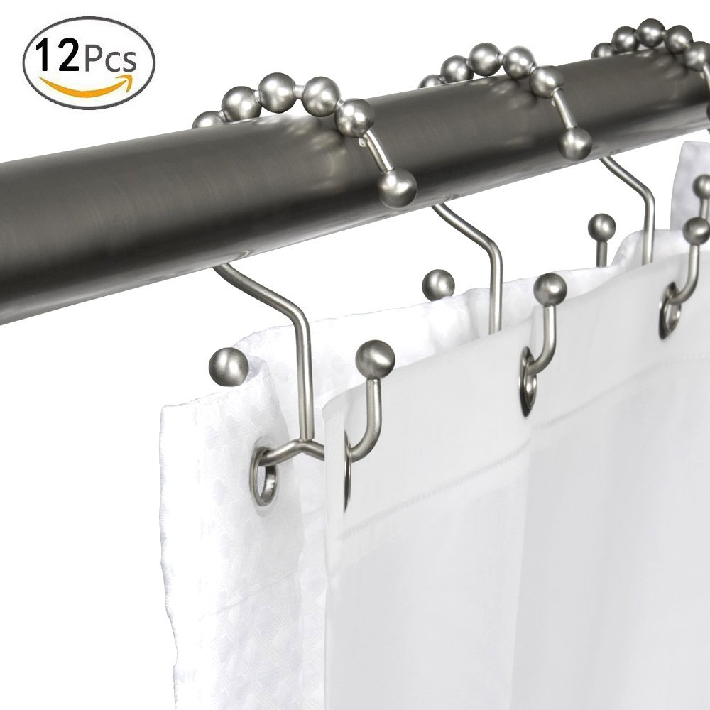 Hacloser 12Pcs/Set Stainless Steel Double Hook Shower Curtain Hooks, Shower Curtain Rings Brushed Nickel No Rust