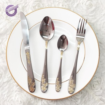 Qt03430 Wedding Antique Silver Cutlery Sets Spoon Fork Knife Whole