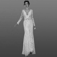2018 Elegant Sheath Lace Wedding Dresses Long Sleeves V Neck Backless Sweep Train Sheath Boho Bridal Gowns
