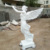 Western outdoor stone statue marble angel sculpture with trumpet
