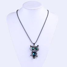 Lastest Fashion Jewelry Owl Pendant Women Zircon Sweater Necklace