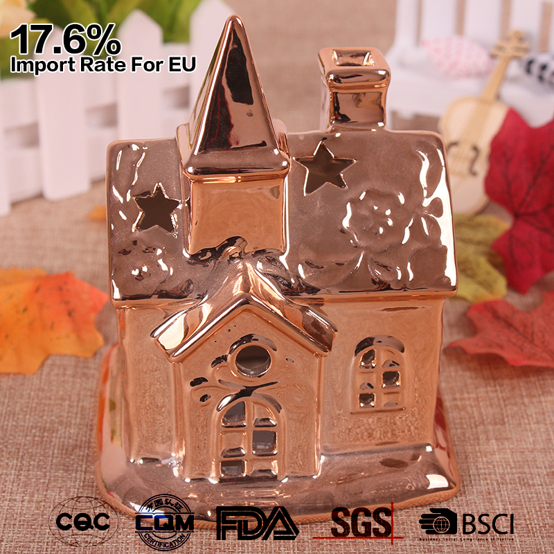 electro-plated house shaped ceramic gold tealight votive candle holder