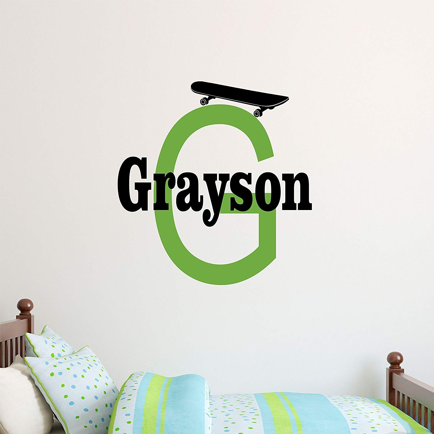 Custom Name Skateboard Wall Decal - Boys Girls Personalized Name Skate Wall Sticker - Custom Name Sign - Custom Name Stencil Monogram - Girls Boys Room Wall Decor