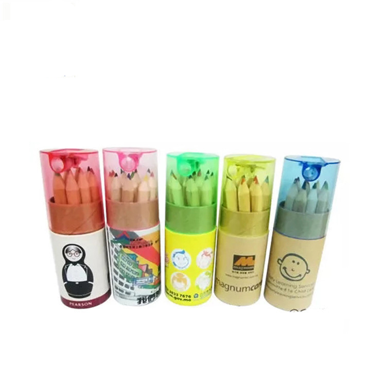 2019 Printing logo Kraft paper tube 3.5 Inches wooden colored pencils 12 colors sticks pencil with pencil sharpener