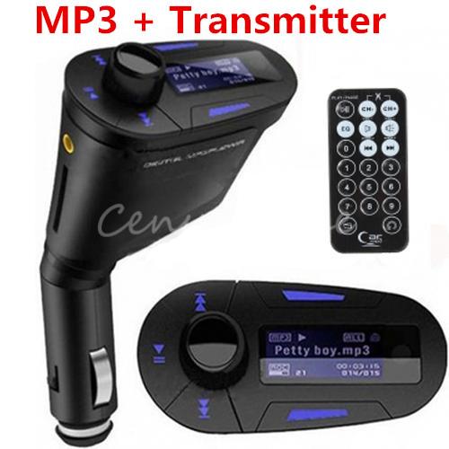 Универсальный 3.5 мм авто Kit стерео аудио гнездо в автомобиль синий LCD USB MMC TF жк-fm передатчик радио модулятор + пульт дистанционного управления