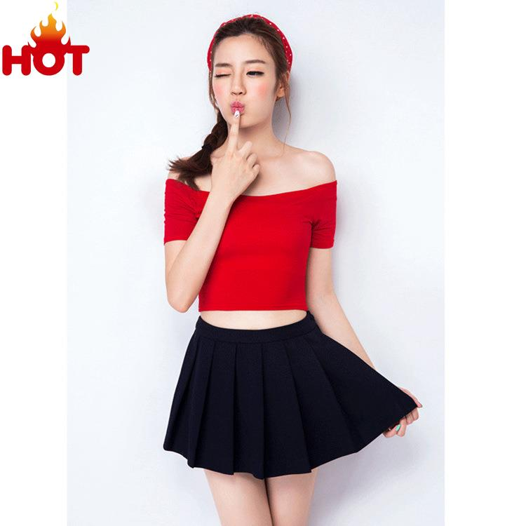 e7b70616b6f Get Quotations · Women Summer T shirt Crop Top Black White Fashion Sexy Crop  Top Off Shoulder Tees Short