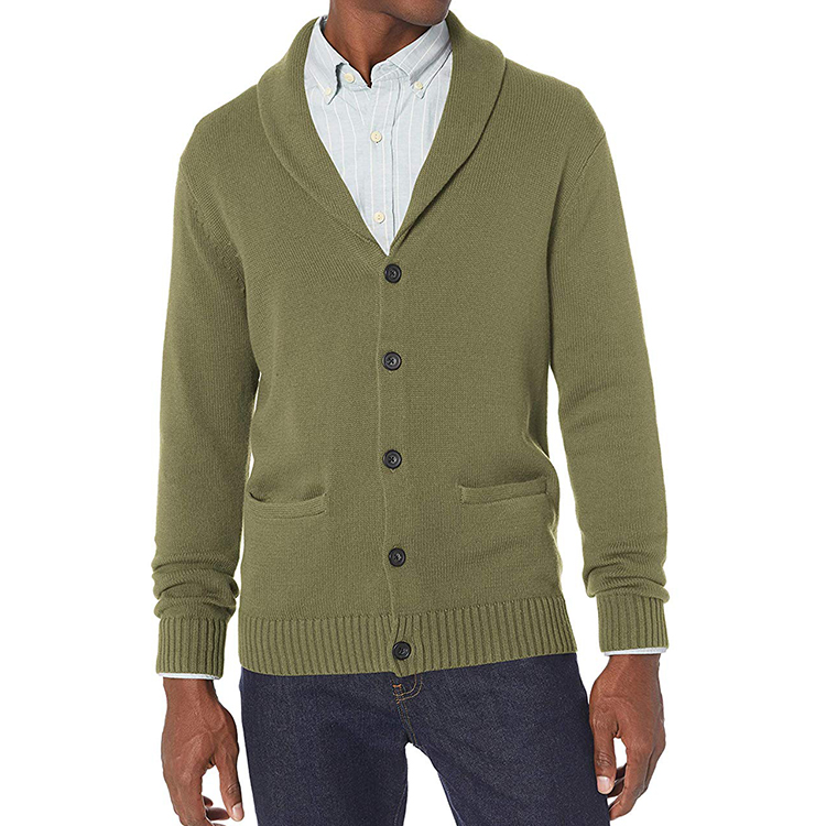 Sweater Manufacture Relaxed Fit Slim Knitted Jacket Men's Soft Cotton Shawl Collar Cardigan Men Sweater will front Button Pocket фото