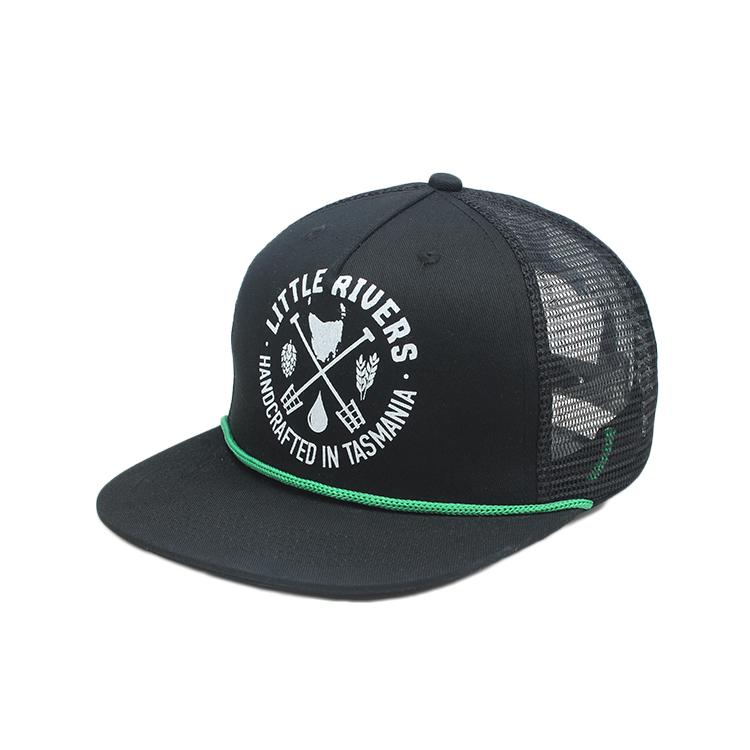rope snapback wholesale 100% polyester plain blank trucker mesh hats