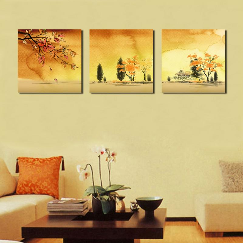 3 Piece about beauty Large tree Modern Home decoration Wall Decor oil painting Canvas Art picture Print Painting SZ-O-203