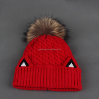 2016 Women Knitted Wool Girl Winter Hat With Fur Poms