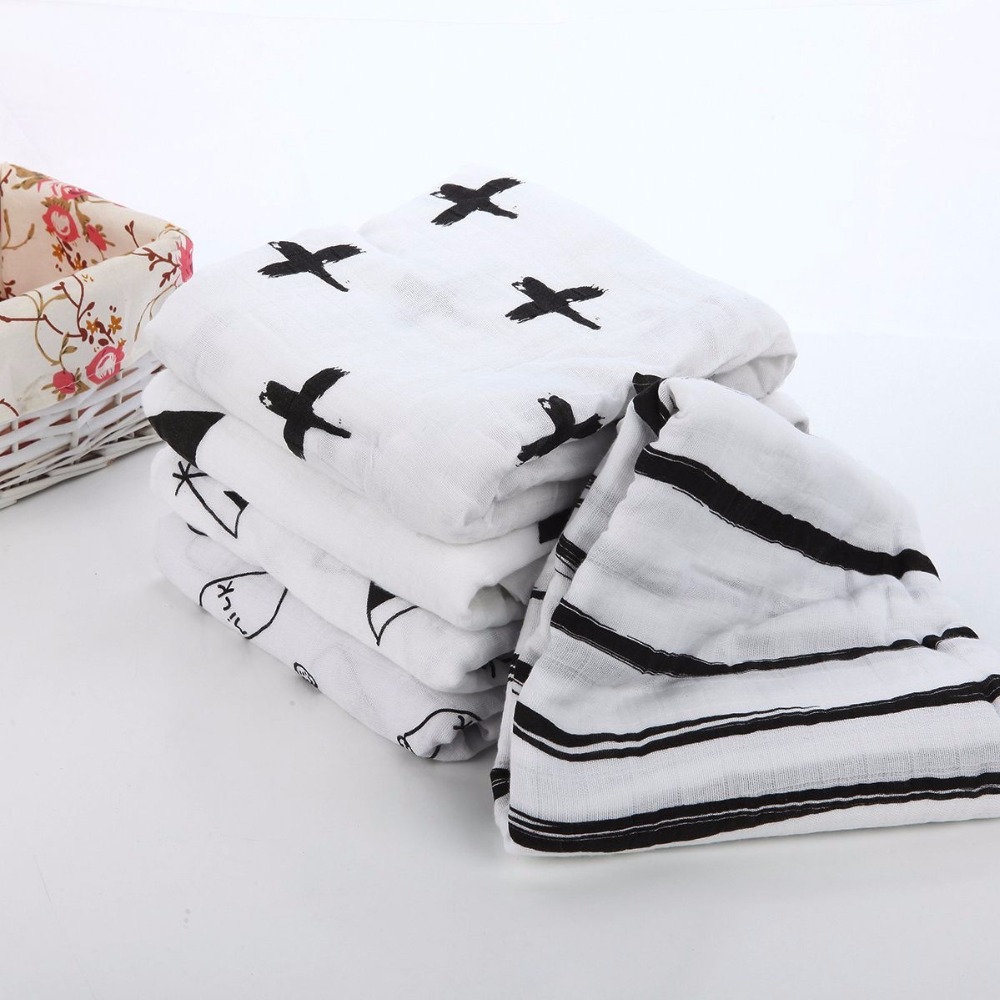 100 Cotton Muslin Swaddle Blanket Heart Cross Fox Milk Bottle Models Multi use blanket Infant Newborn
