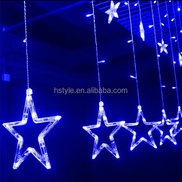 2M 138LED Decorative Star Curtain Lights for Christmas Party Wedding Cool White HNL374
