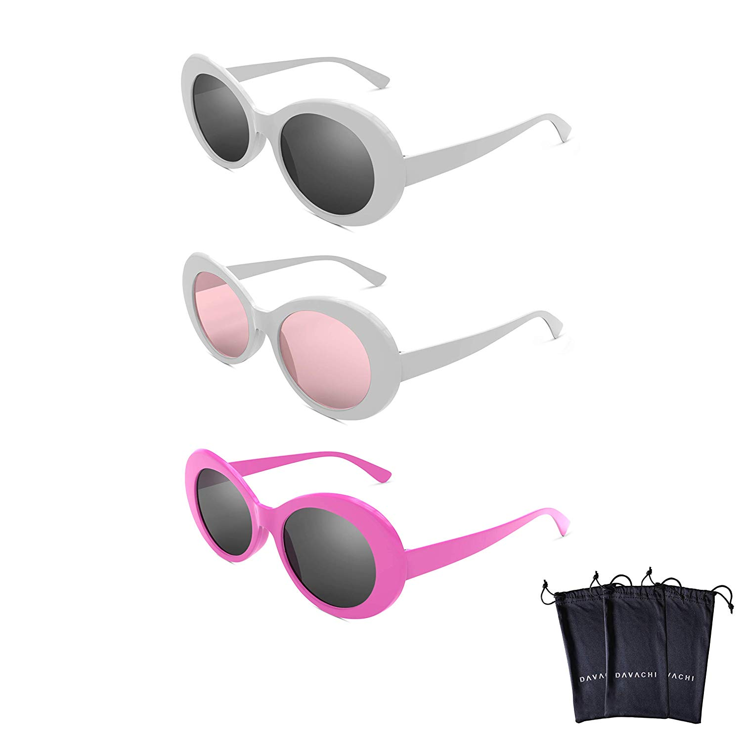 7ee8d321cd Get Quotations · Davachi Clout Goggles Set With Cases Kurt Cobain Oval  Sunglasses White