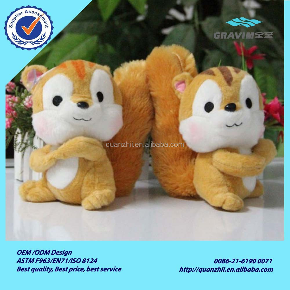 Funny custom cheap brown plush squirrel toy wholesale cute soft stuffed plush squirrel