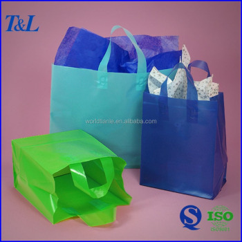 Soft loop handle plastic bag special designed HDPE plastic shopping bag, plastic shopping bag with loop handle