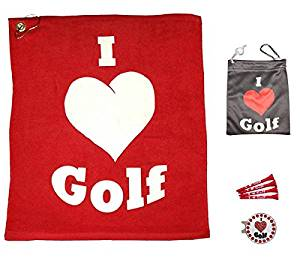 Giggle Golf Par 3 - I Love Golf Towel, Tee Bag And Bling Ball Marker With Hat Clip – Perfect Golf Gift For Women