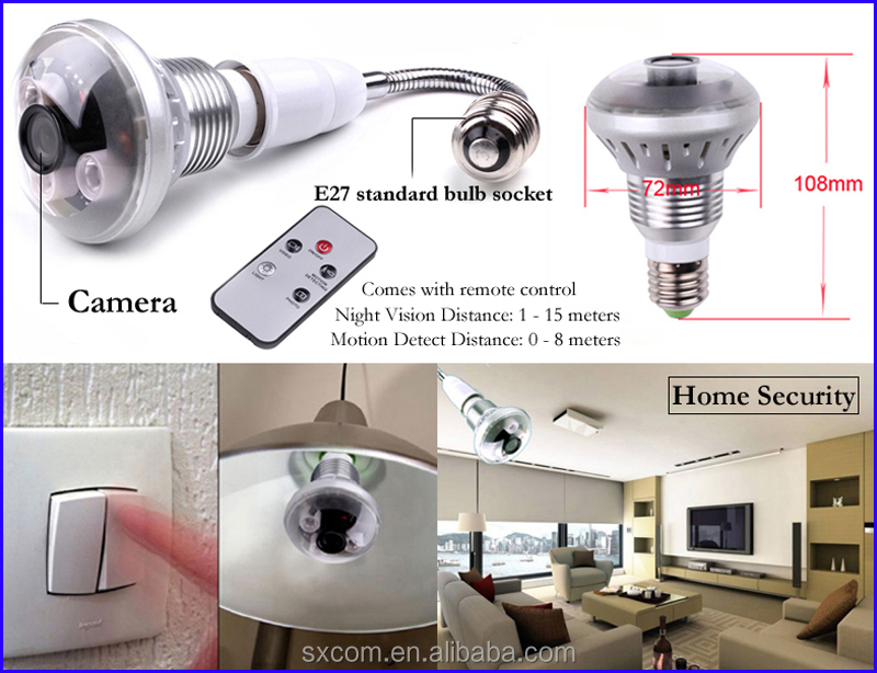 home security system 720p light bulb hidden camera in