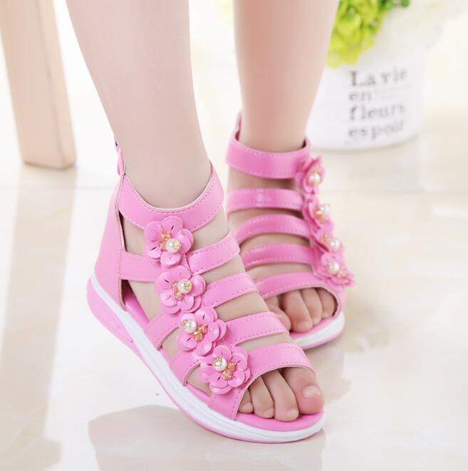 8f277ef9f zm53624a Girls pink princess sandals 2017 summer kids open toe sandals