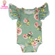 Toddler Baby Girl Floral Printed Romper Bodysuit Jumpsuit Matching Bunny Headband Summer Gift Set