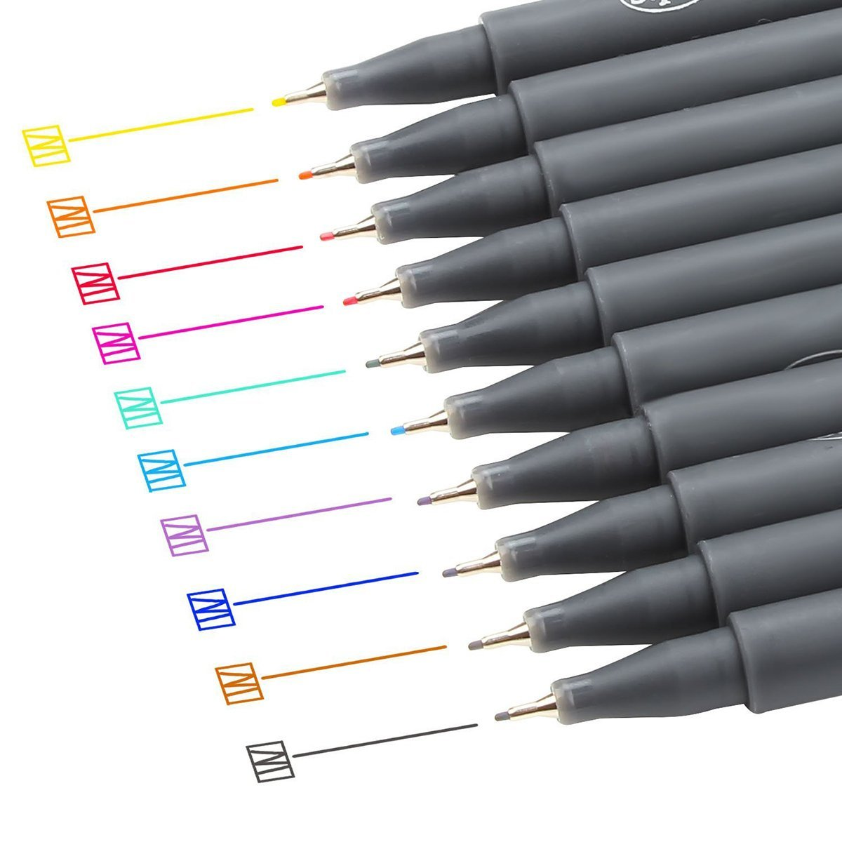 NUOLUX 10pcs Fineliner Color Pen Set 0.38mm Fine Line Drawing Pen Porous Fine Point Markers Perfect for Art Projects
