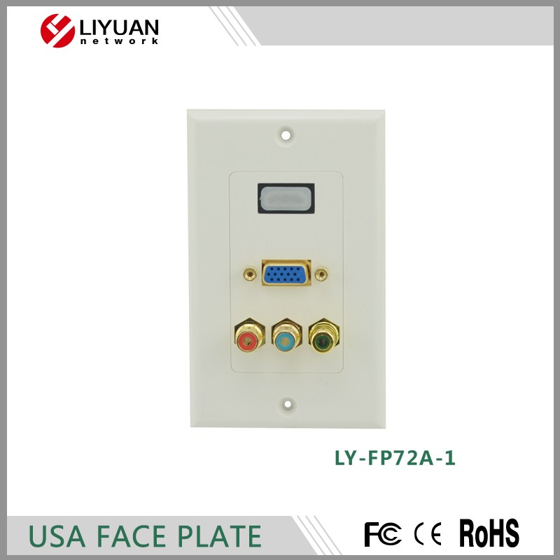 LY-FP72A-1 USA type Decora Wall Plate 70X115mm HDMI/VGA/RCA FACE PLATE