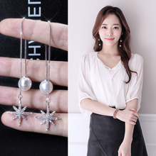 925 sliver Korean fashion and temperament unique rhinestone pearl maple shape tassel earrings women