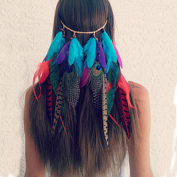 Clip in, feather veil, native american, hair piece, hippie ...