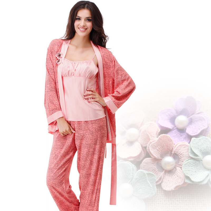 Get Quotations · Three-Pieces Women Pajama Sets Long-Sleeved silk satin  Sleepwear Emulation Silk Pyjamas Female b7ee3d303