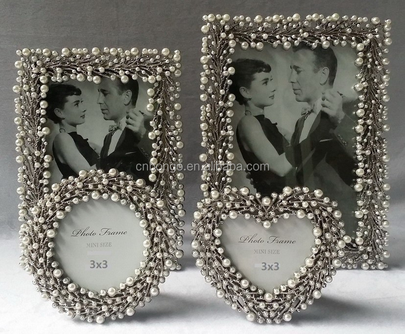 pearls and enamel dots photo frame,2015 new design photo frame wholesale