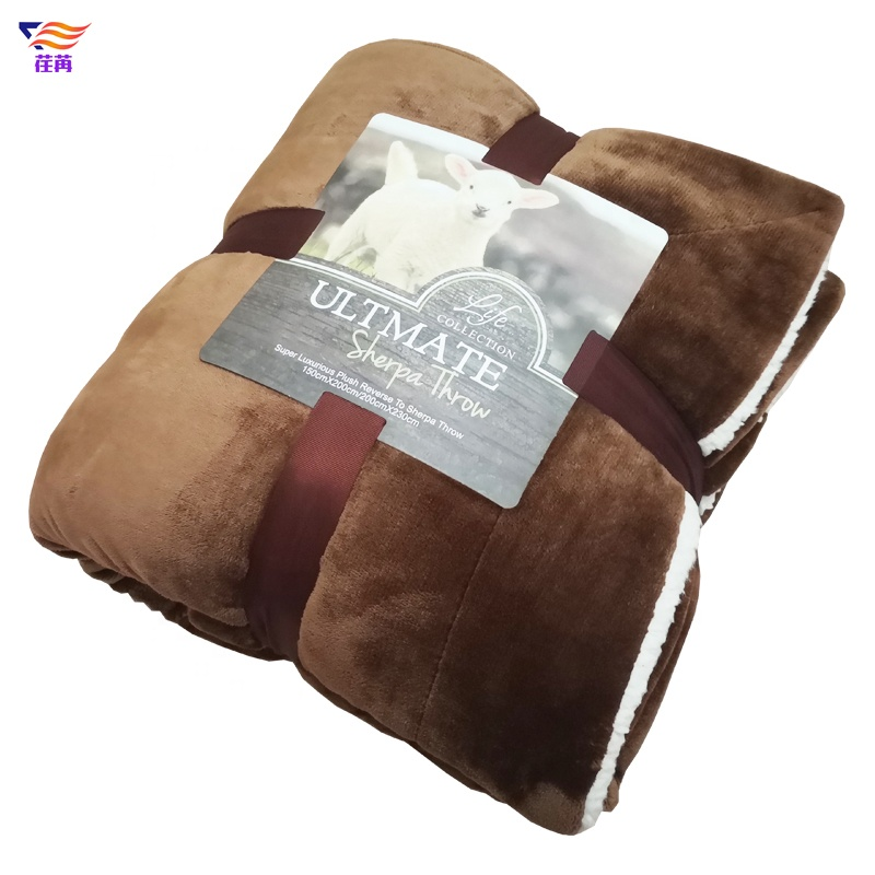 100% polyester plush sherpa lining double layer fleece throw blanket for winter
