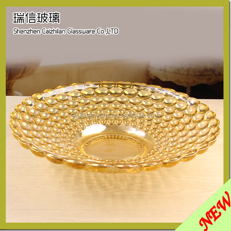 Elegant Gold Peacock Glass Wedding Charger Plate Wholesale/Decoration Clear Glass With Gold Silver Glass Beaded Charger Plates