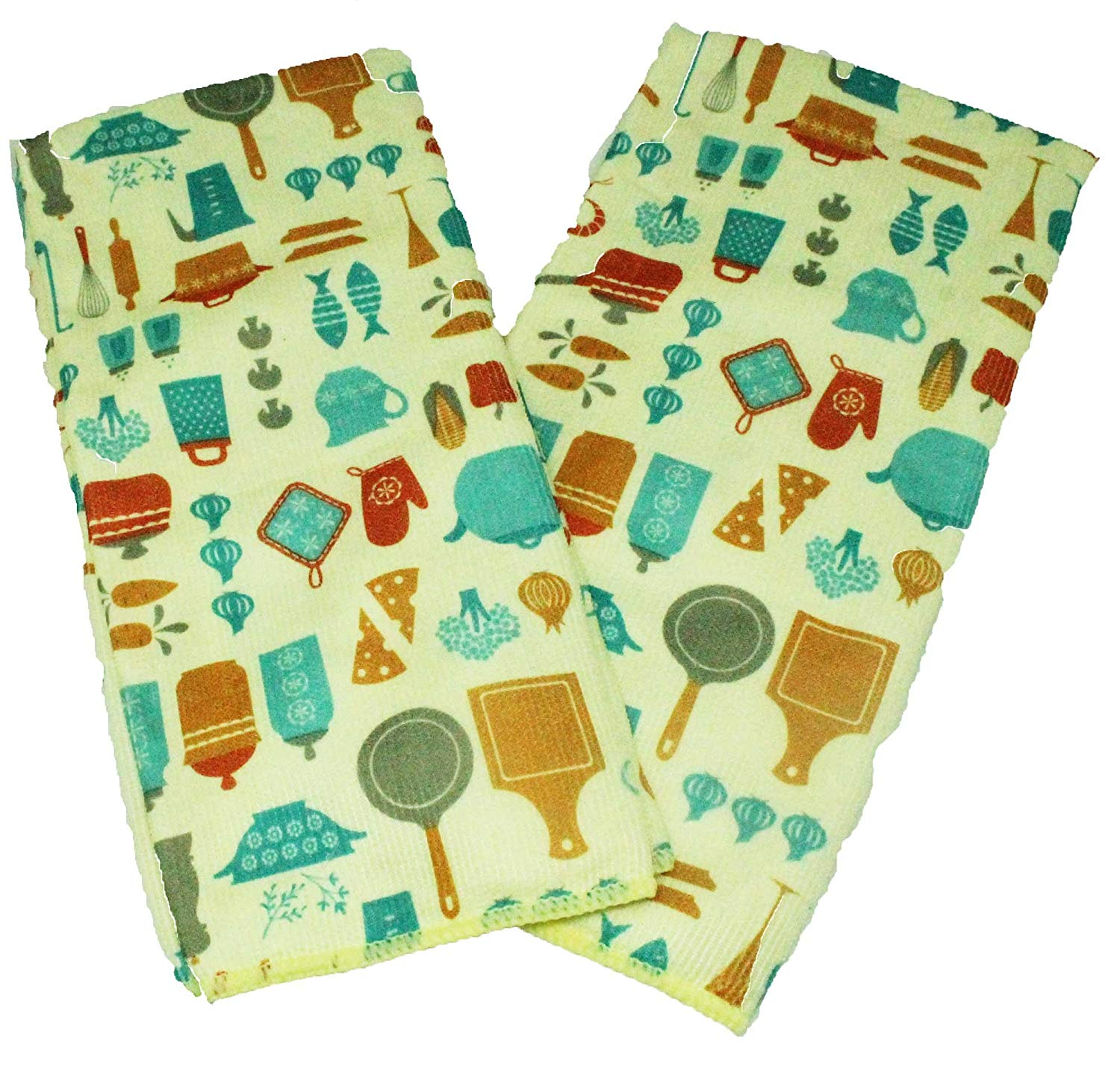 Set of 2 Yellow and Teal Kitchen Dish Towels - Microfiber Dish Towels Gift Set with Baking and Cooking Utensils Design - Comes in Organza Gift Bag