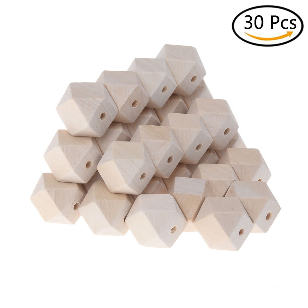 uhoMEy 30 pcs Octagon Geometric Shape Wood Beads. 20mm Unfinished Beads Kids Craft DIY Beads Gifts