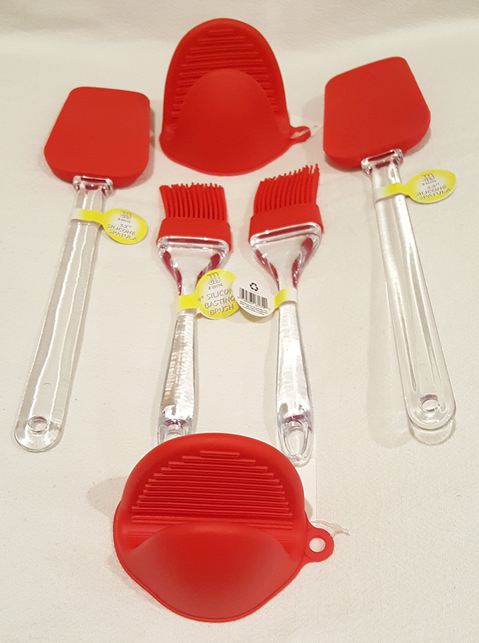 "8-pc Silicone Kitchen Heat Resistant Cookware Sets: 2 Pot holders/Cooking Pinch Mitts, 12"" Spatula (2 pcs.), 9"" Basting Brush (2 pcs.), Silicone-coated Wisks (2 pcs.), Various Colors (15x12)"