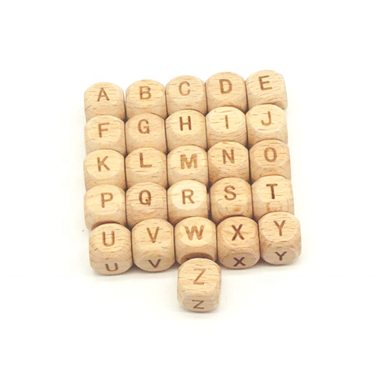 26pcs letters(A-Z)Wood color Mixed Cubic Wood Letter// Alphabet Spacer Beads 12mm
