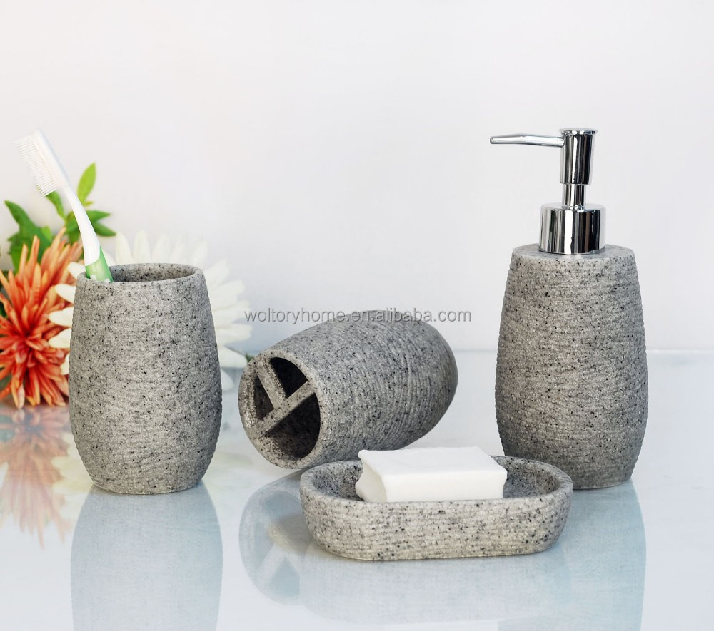Artificial Stone Bathroom Bath Accessories Set Natural