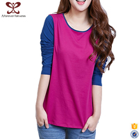 2017 Latest Spring Girl tee shirt Wholesale Slim Fit Long Sleeve Cotton t shirt For Women