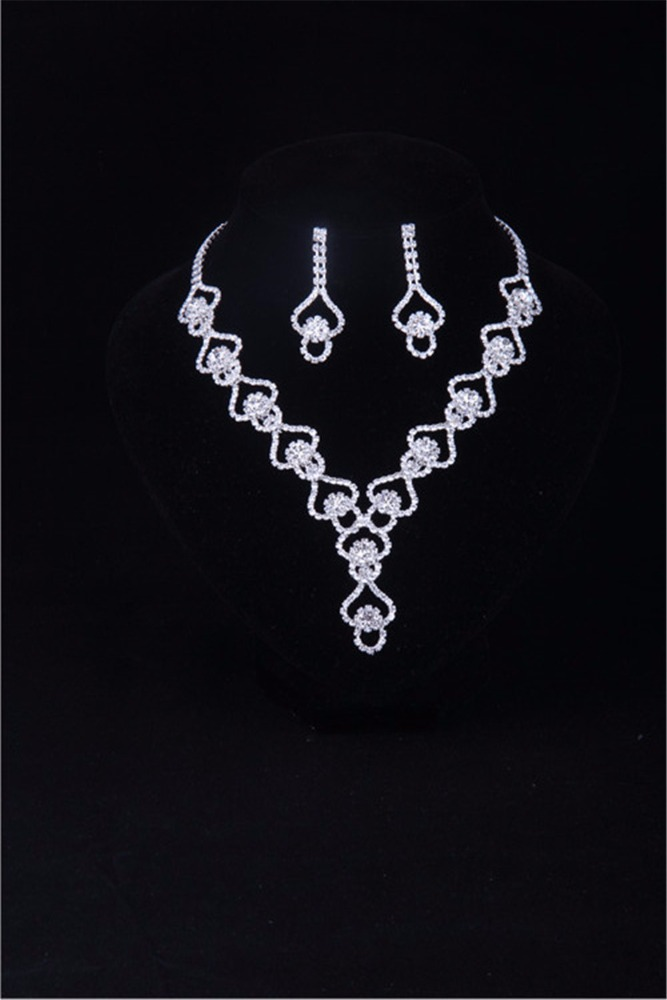 Ladies Fashion Jewelry Necklace with Earring Sets For Dancing Party AB33 Women Girls Costume Jewellery Crystal Diamond