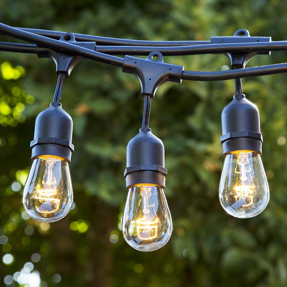 48 Foot Heavy Duty Outdoor Weatherproof Commercial String Lights with Hanging Sockets